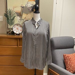 Lauren black and cream houndstooth silky blouse
